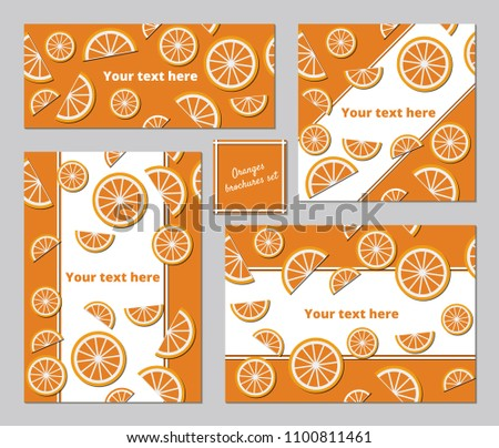 Oranges A 5 Brochures Templates Set Stock Vector Royalty Free
