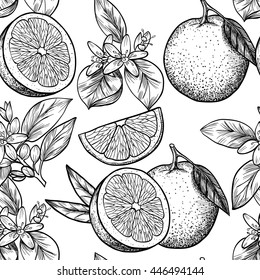 Oranges  and flowers. Vector seamless pattern.Vintage style