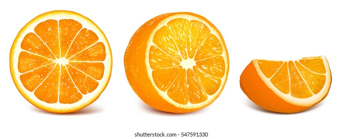 Oranges: orange slice, half cut orange and front view of cut ripe orange. Set of vector illustration. Fully editable handmade mesh.