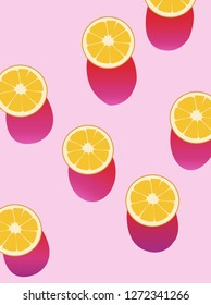 Oranges and shadows flatlay on a pink backdrop