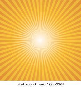 orange-yellow color burst background. Vector illustration