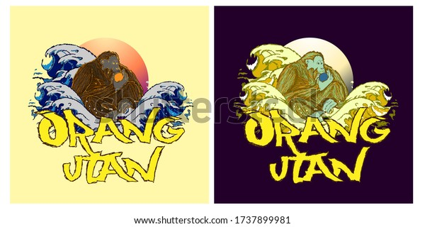 orangutan or indonesia's apes illustration design for sukajan is mean japan traditional cloth or t-shirt with digital hand drawn Embroidery Men T-shirts Summer Casual Short Sleeve Hip Hop T Shirt