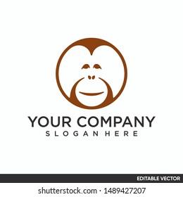orangutan logo minimalist design editable vector