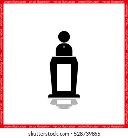 Orator icon vector illustration eps10. Isolated badge for website or app - stock infographics.