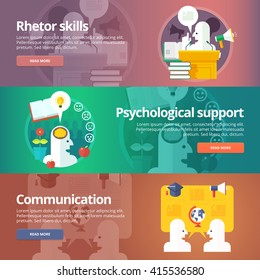 Orator skills. Psychological support. Art of speaking. Social relations and people communication banners set. Vector design concept.