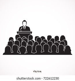 Orator speaking from tribune. public speaker and crowd. vector illustration in flat style. Presenting A Reduction. Speech of Director.