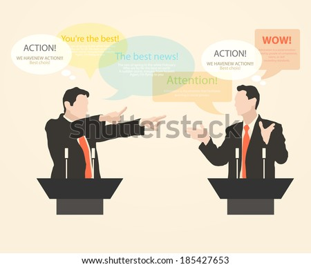 Orator stands behind a podium with microphones.  Speaker makes a report to the public. Presentation and performance before an audience. Rhetoric. Oratory, lecturer, business seminar. Vector. Icon.