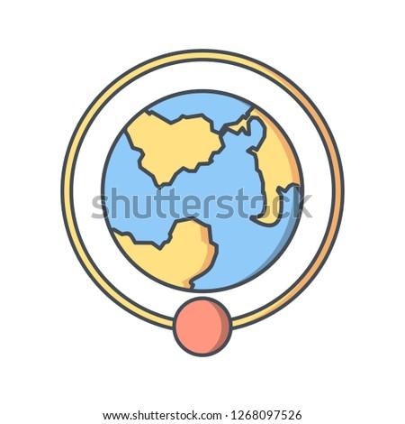 Orbit Around Earth Vector Icon Sign Stock Vector (Royalty