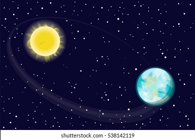 The orbit of the Earth s rotation around the sun. Star of the planet. Vector illustration