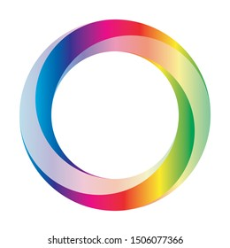 Orbit icon. Rounded vector ring designed with blended gradients in rainbow spectrum colors.