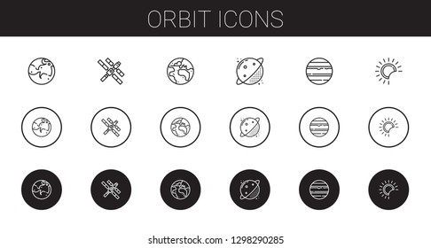 orbit icons set. Collection of orbit with mars, space station, planet earth, planet, venus, eclipse. Editable and scalable orbit icons.