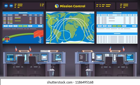 Orbital space flight mission control center room interior with satellite tracking display screen, flight data panel & empty scientist workplace seat with desks & computers. Flat vector illustration