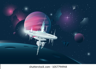 Orbital stations orbiting moon with gas giant planet behind on dark space background. Other planets and distant stars and nebulas in the background.