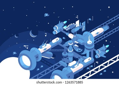 Orbital stations orbiting moon with gas giant planet vector illustration. Other planets and distant stars and nebulas on the background flat style concept