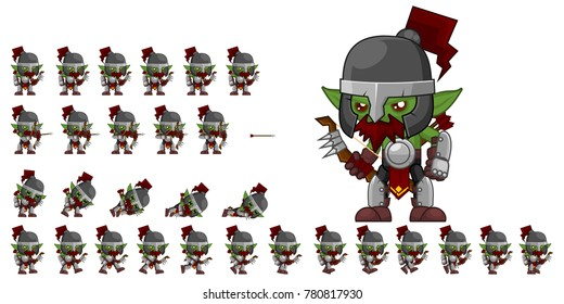 Orc archer game character for creating fantasy video games