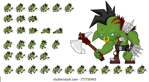 Orc game character for creating fantasy video games