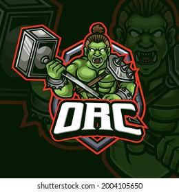 Orc mascot esport gaming logo design