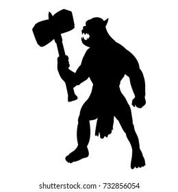 Orc silhouette monster villain fantasy. Vector illustration.