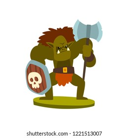 Orc warrior monster, fantasy or fairy tale character vector Illustration on a white background