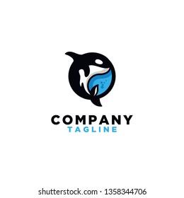 Orca flat logo template, killer whale logo
