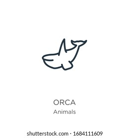 Orca icon. Thin linear orca outline icon isolated on white background from animals collection. Line vector sign, symbol for web and mobile