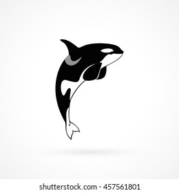 orca jumping killer whale sign logo emblem on white background vector illustration