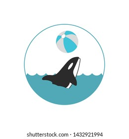 Orca (killer whale) play with ball icon
