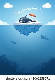 "Orca or the killer whale sleeping on the iceberg with a message ""Happy Summer Time"". Iceberg with above and underwater view. Whales swim in the ocean. Summer background concept. Vector illustration"