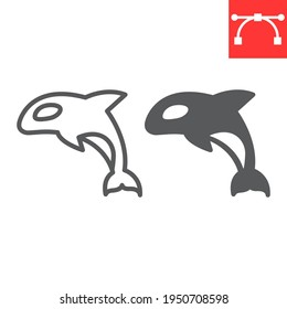 Orca line and glyph icon, sea and ocean animals, orca vector icon, vector graphics, editable stroke outline sign, eps 10