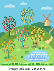 Orchard. Fruit garden. Pear tree with ladder, pond, . Summer landscape. Blueberry field.
