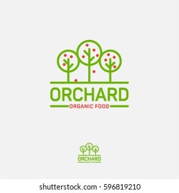 Orchard icon. Organic food logo. Fresh fruit emblem. Three fruit trees on a light background.
