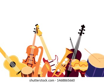 orchesta musical instruments objects design