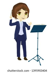 Orchestra conductor. Clip art cartoon illustration on white background.