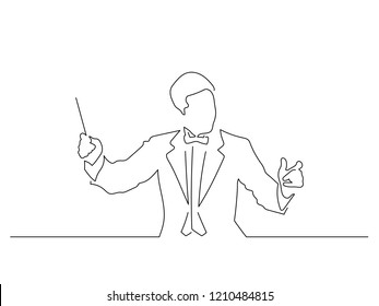 Orchestra conductor isolated line drawing, vector illustration design. Music collection.