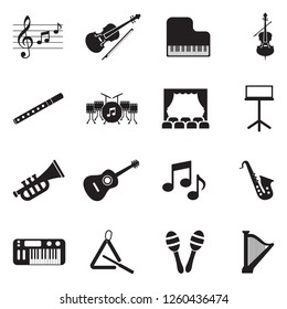 Orchestra Icons. Black Flat Design. Vector Illustration.