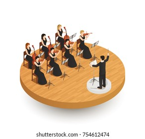 Orchestra isometric composition with conductor and female musicians playing various musical instruments on wooden stage 3d vector illustration