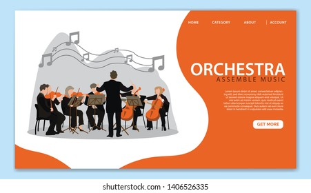 Orchestra Landing Page Template. Professional Conductor directing Classic Music Instrument  with Violin and Cello Players. Flat Cartoon Vector Illustration for Website Page, Advertisement. - Vector