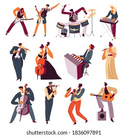 Orchestra musicians playing instrument in band. Guitarist and drummer, pianist and violinist. Flute and trumpet, saxophone and acoustic guitar. Talented people giving performance vector in flat style