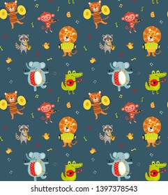 Orchestra. Seamless pattern with cute animals