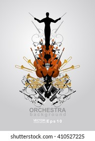 The orchestra vector background. The banner of concert classical music. The philharmonic orchestra.