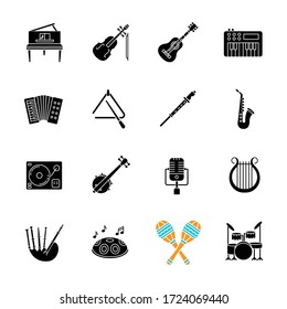 Orchestral instrument black glyph icons set on white space. Live classical music concert. Band performance with string instruments and percussion. Silhouette symbols. Vector isolated illustration