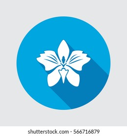 Orchid flower icons. Floral symbol. Round white sign on red flat button with long shadow. Vector