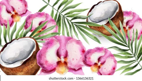 Orchid flowers and coconut Vector watercolor. Tropic exotic card background
