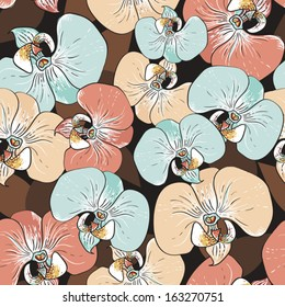 Orchid flowers - vector seamless pattern in pastel colors