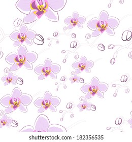 Orchid. Seamless floral background. Endless floral pattern. You can use it in textile design, greeting cards, graphic design.