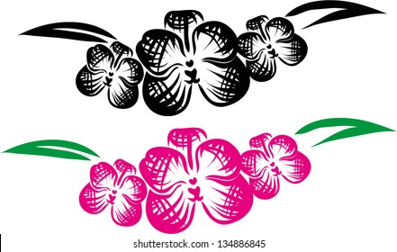orchid tattoo,vector
