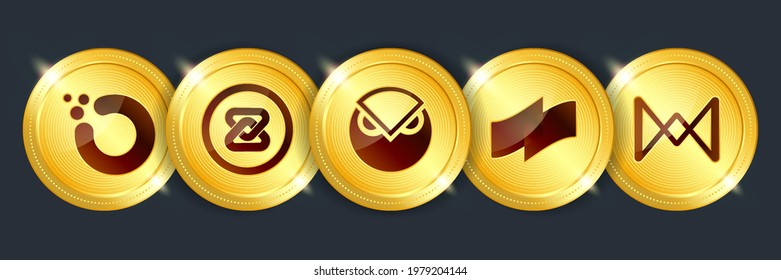 Orchid, zb token, gnosis, coti, quarkchain crypto currency digital payment system blockchain concept. Cryptocurrency golden coin isolated on dark background. Vector illustration