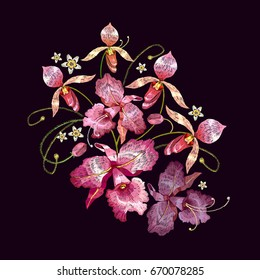 Orchids embroidery. Beautiful tropical orchids flower Classic style embroidery. Template for clothes, textiles, t-shirt design
