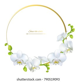 Orchids. White flowers. Tropical plants. Floral background. Round frame.