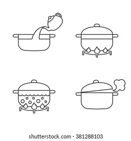 order of cooking info graphics, thin line vector for recipe,cooking pasta, noodles. Step by step